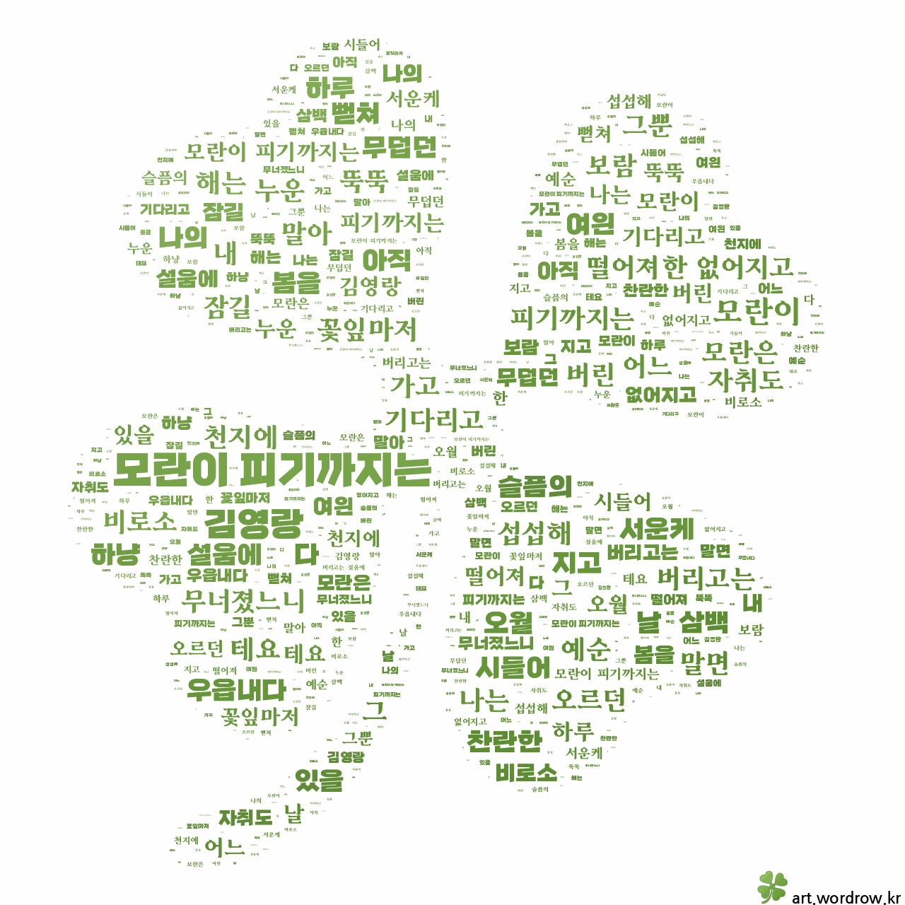 워드 클라우드: 모란이 피기까지는 [김영랑]-9